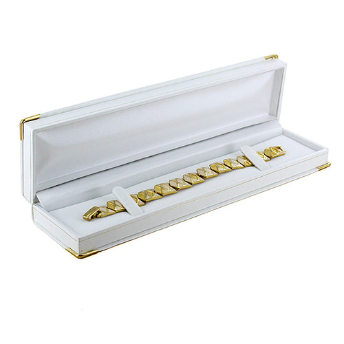 "Brass Corner Bracelet Box, 8 5/8"" x 2 1/8"" x 1""H"