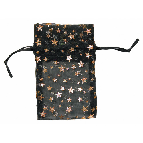 """4"""" x 5"""",Organza Pouches with Gold Stars, price for Dozen,Buy More Save More"""