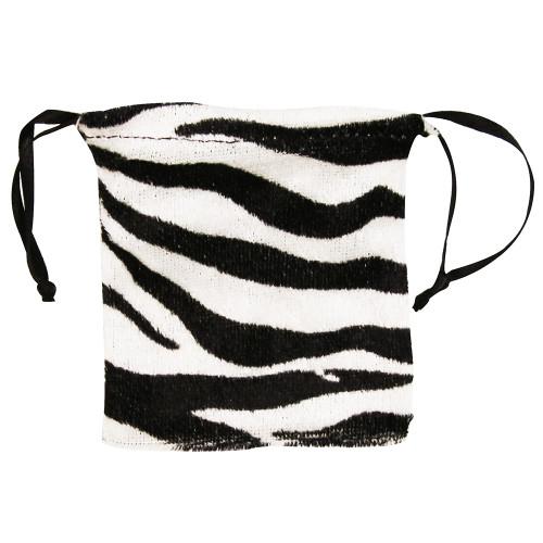 "4"" x 5"",Furry Zebra Drawstring Pouch, price for Dozen,Buy More Save More"