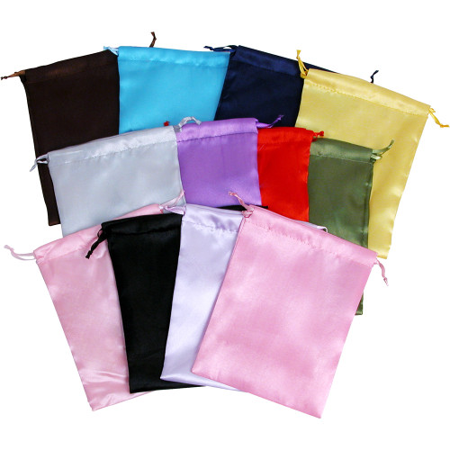 """6"""" x 8"""", Assorted 12 Solid Color Satin  Drawstring Pouch, price for Dozen,Buy More Save More"""