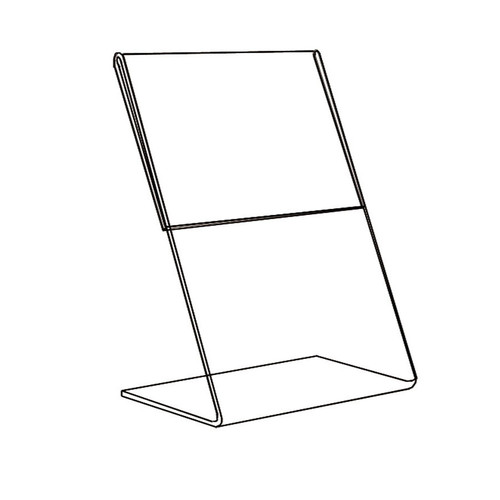 "Acrylic Sign Holder,1 Side Slant Back, 5 1/2"" x 7"""