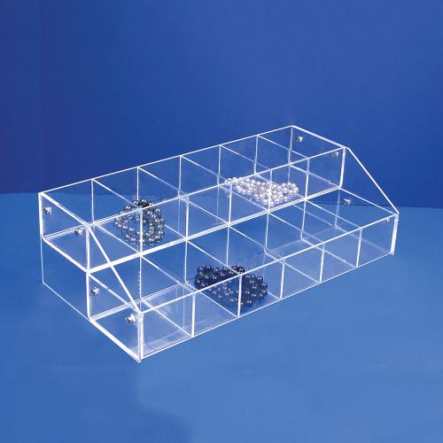 "Acrylic Multi-Tier Bin Organizer, 16"" x 8"" x 4 5/8""H,Assemble Requiresd"
