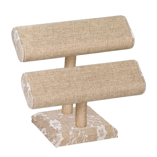 "Double Oval T-Bar Display,12"" x 5 3/8"", Burlap Lace"