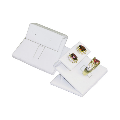 "Ring-Earring Display, White Leather, 2"" x 1 5/8"" x 1 1/4""H"