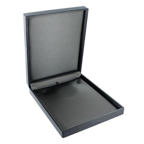 "Premium Ribbon Necklace box-grey 6 5/8"" x 8 1/4"" x 1 3/8"""