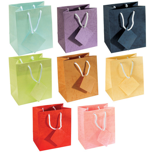 """4"""" x 4 1/2""""H Assorted Pastel Gift Bags, Assorted 8 Color, Price for 100 pcs"""