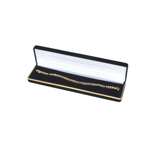 "Velvet Bracelet Box with Gold Trim, 8"" x 2"" x 1 1/8""