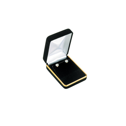"""Velvet Pendant Earring Box with Gold Trim, 2 1/4"""" x 3"""" x 1 1/4"""",(Choose from various Color)"""