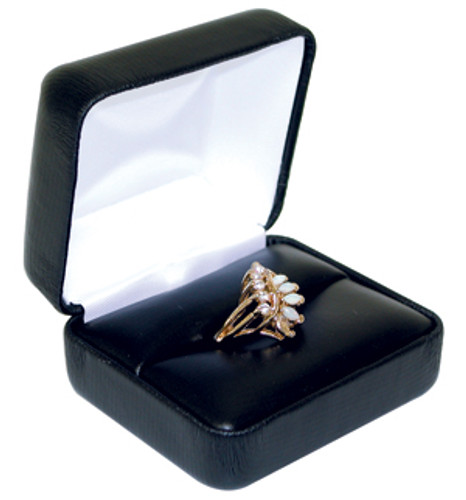 "VR5 Faux Leather Metal Double Ring Box, 2 3/8"" x 2"" x 1 1/2"""