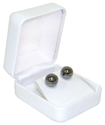 "VE3 Faux Leather Metal Earring Box,2-Piece Packer, 1 7/8"" x 2 1/8"" x 1 1/2"""