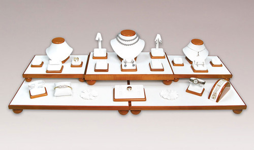 CLOSEOUT-26-Piece White Leather with Glossy Wood Trim Display Set (SET35-O)