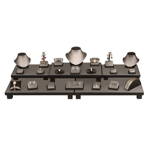 26-Piece Steel Grey with Black Faux Leather Trim Display Set (SET35-87R)