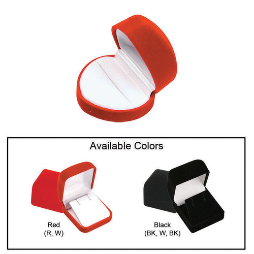 """Flocked Velour Heart Shaped Ring Box , 2"""" x 1 3/4"""" x 1 1/2"""", Soft Flocked Velour Earring Box, 2"""" x 2 1/4"""" x 1 3/8"""", Choose from various Color"""