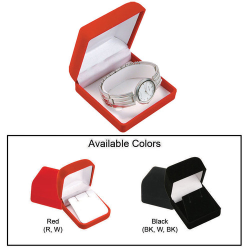 """Soft Flocked Velour Bangle/Watch Box, 3 3/8"""" x 3 1/2"""" x 1 3/4"""", Choose from various Color"""