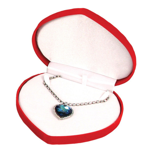 """Soft Flocked Velour Heart Shaped Necklace Box, 6 1/2"""" x 6"""" x 1 3/8"""", Choose from various Color"""