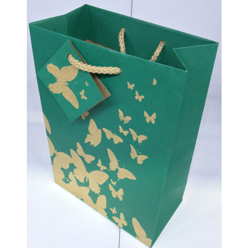 Green Kraft Butterfly Tote Bags,(Choose from various sizes),Price for 20 Pieces