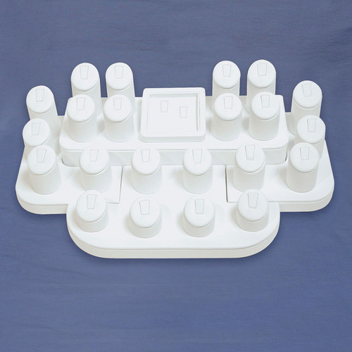24-Ring Clip White Faux Leather Display Set