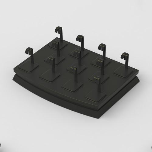 11-Pair Black Faux Leather Earring Tree Mini Display Set