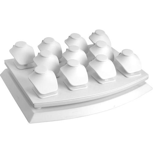 11-Necklace Pendant White Faux Leather Mini Display Set