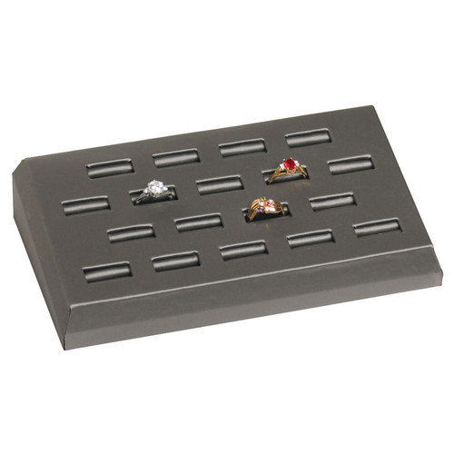 Steel Grey Leatherette 18-Slot Ring Display