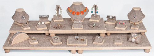 26-Piece Burlap with Wood Trim Display Set (SET35-N3)