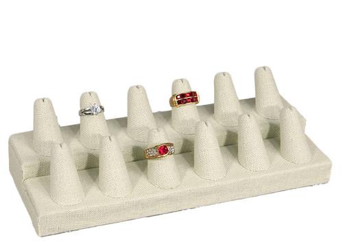 "12-Finger Beige Linen Ring Display,8 1/4"" x 3 1/4"" x 2 1/2""H"