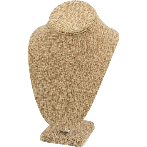 """10"""" Burlap Necklace Bust Jewelry Display"""