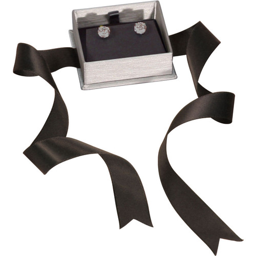 Steel Grey Earring Box with Ribbon