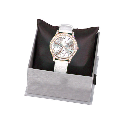 Steel Grey Watch Pillow Box with Ribbon