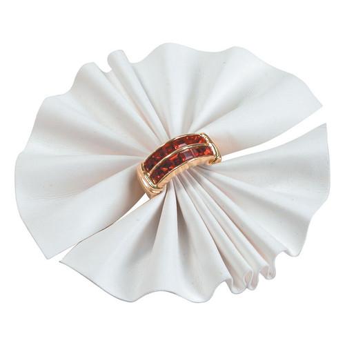White Faux Leather Ring Fan Display 1=10pcs.