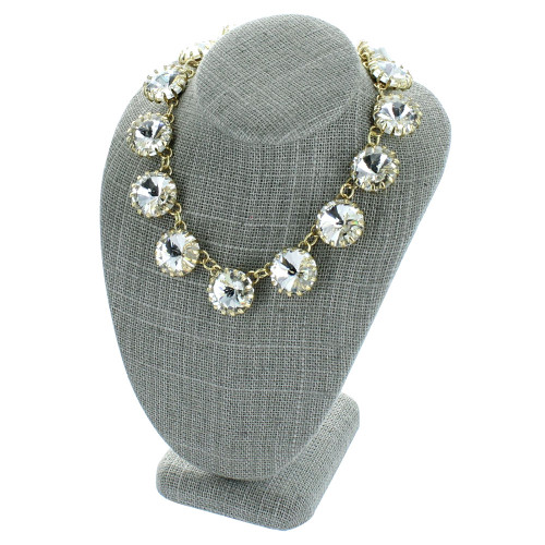 """7 1/2"""" Grey Linen Necklace Bust Jewelry Display (ND-1893N-N21)"""