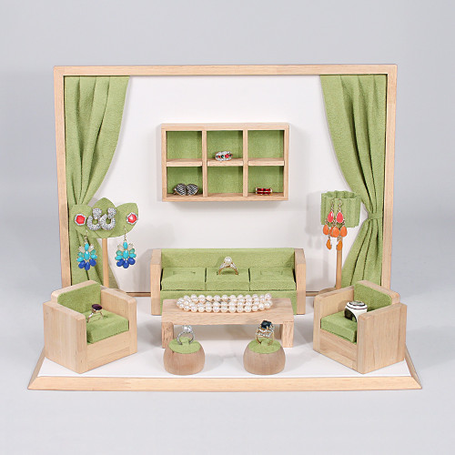"Display set (GREEN suede,wood trim),10pcs,16.5x10.25x12""H"
