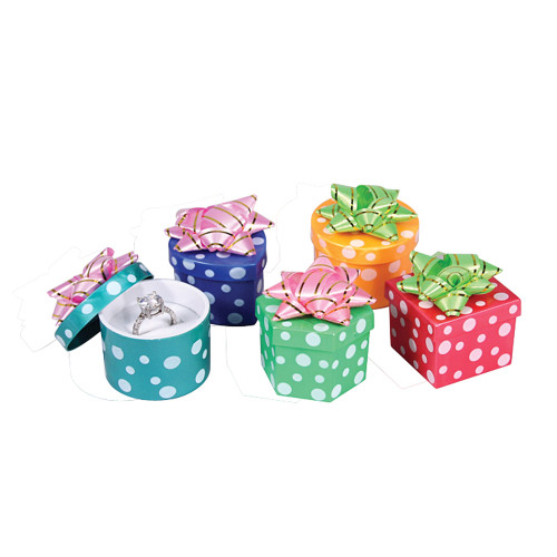 Ring box ,Hat box,Polka Dot Assorted Color, Price for 48 Pieces.
