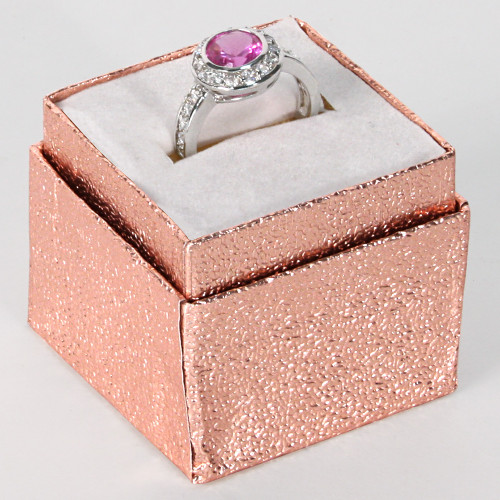 "Ring Box, 1 3/4"" x 1 3/4"" x 1 5/8""H, Rose Gold Foil"