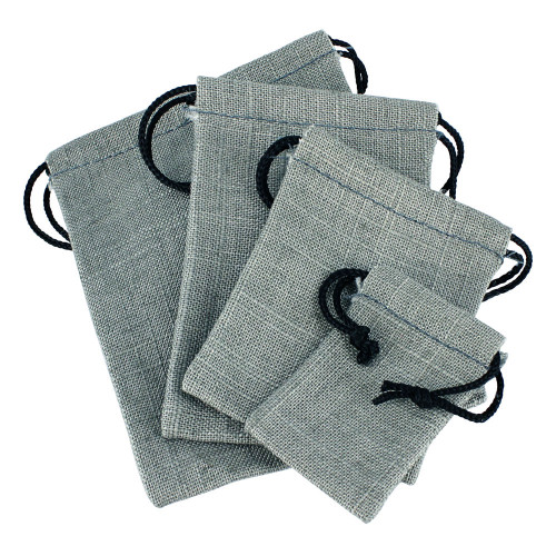 """1 3/4"""" x 2"""", Grey Linen Pouch, price for Dozen,Buy More Save More"""