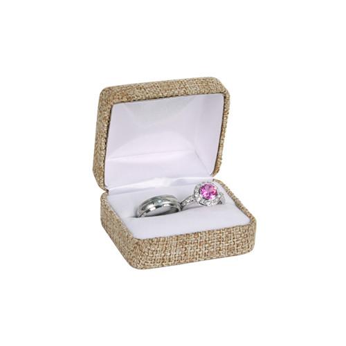 "Metal Double Ring Box ,Burlap,2-Piece Packer, 2 3/8"" x 2"" x 1 1/2""H"
