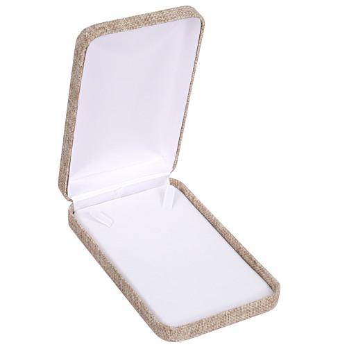 """Metal Necklace Box,Burlap, 2-Piece Packer, 4 1/4"""" x 7"""" x 1 5 /8""""H"""