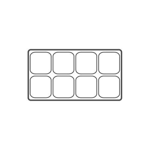 "8-compartment Durable plastic tray Insert, 14 1/8""x 7 5/8""x 1 3/8""H,(Choose from various Color)"