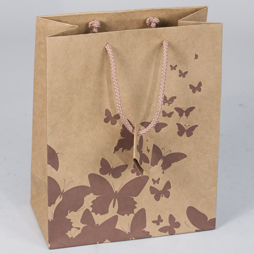 Tote Gift Bag,Coffee Butterfly,Kraft,(Choose from various sizes),Price for 20 pieces