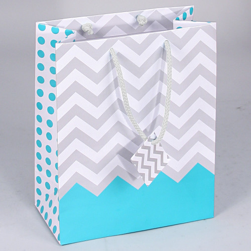 Tote Gift Bag , Turquoise Polka Dot-Chevron Glossy, (Choose from various sizes),Price for 20 pieces