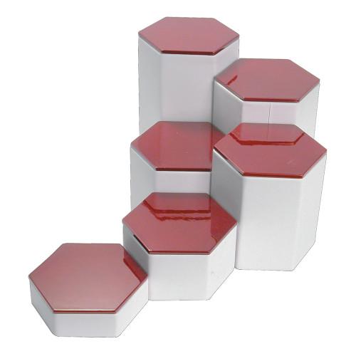 """6-Pieces Hexagon Set, 4"""" Diag., 1 1/4""""~6 1/4""""H, Rosewood Top"""