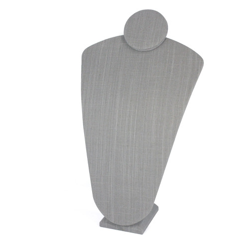 """Linen Necklace Display Bust 10"""" x 6"""" x 16 3/4""""H, Grey"""
