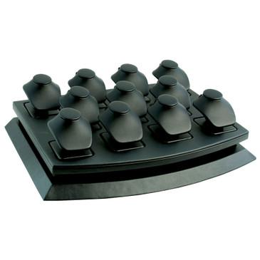 11-Necklace Pendant Black Faux Leather Mini Display Set