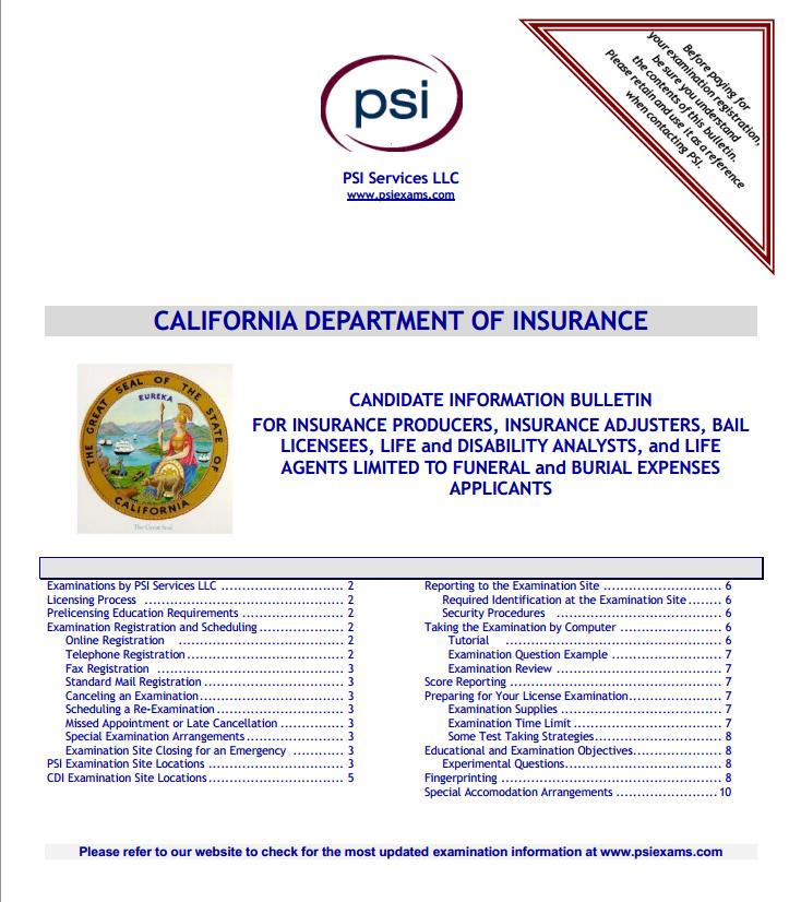 California Insurance Candidate Information Bulletin Psi