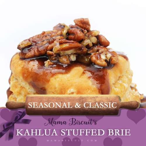 A lil piece of heaven. Kahlúa Stuffed Brie w/a brown-sugared pecan topping.