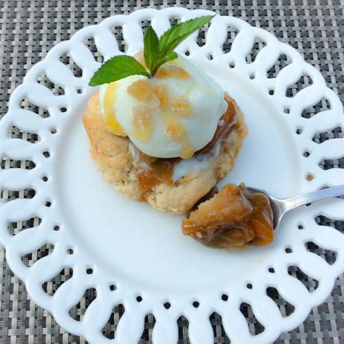 Pecan Bourbon w/Peach-Rhubarb Cobbler