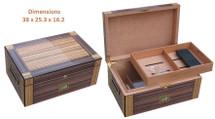Solid Wood Desktop Humidor - Brown