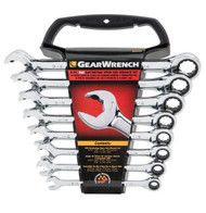 Wrench set reatching open end imperial 8pce gearwrench