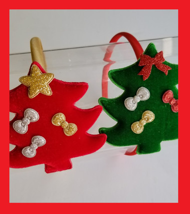 Delicate Velvet Christmas Tree on a this satin Headband decorated with bows.  Great for Holiday Pictures!