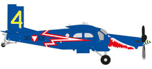 "Herpa Austrian Air Force Pilatus PC-6 Turbo Porter - 4th area stagger , ""Blue Elise"" - 3G-EK 1/72"